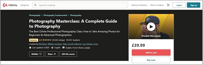 Screenshot of a Photography Masterclass course on Udemy