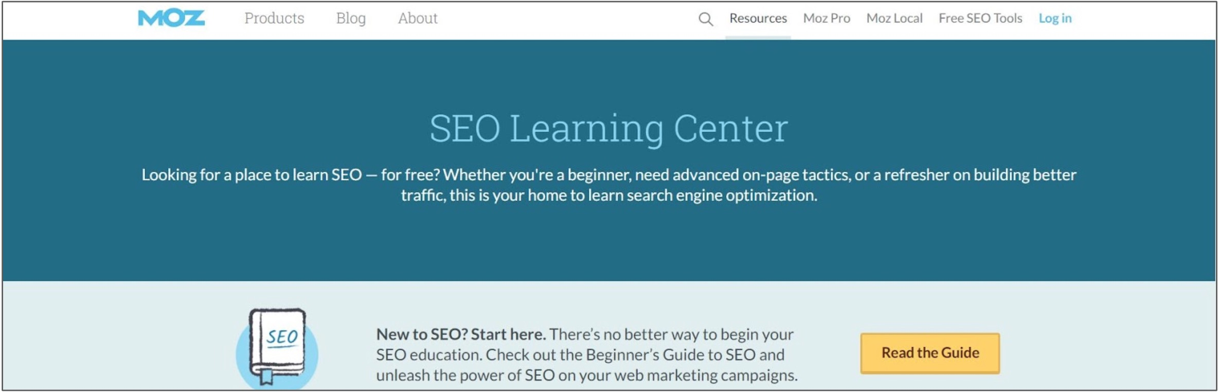 Screenshot of an SEO Learning Centre and courses on Moz