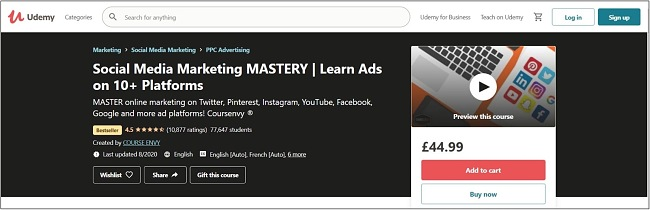 Screenshot of a Social Media Marketing course on Udemy