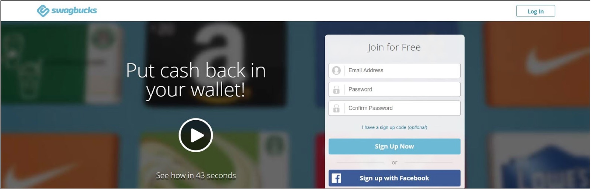 Screenshot of Swagbucks home page