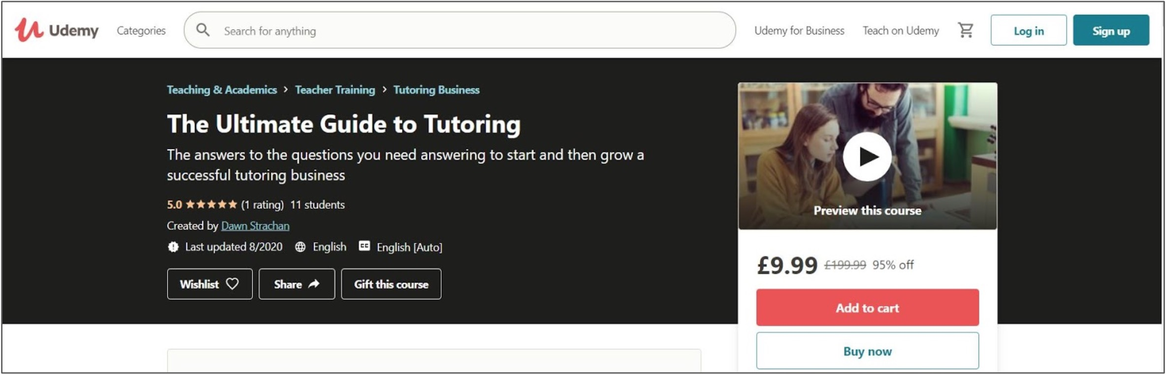 Screenshot of a tutoring course on Udemy