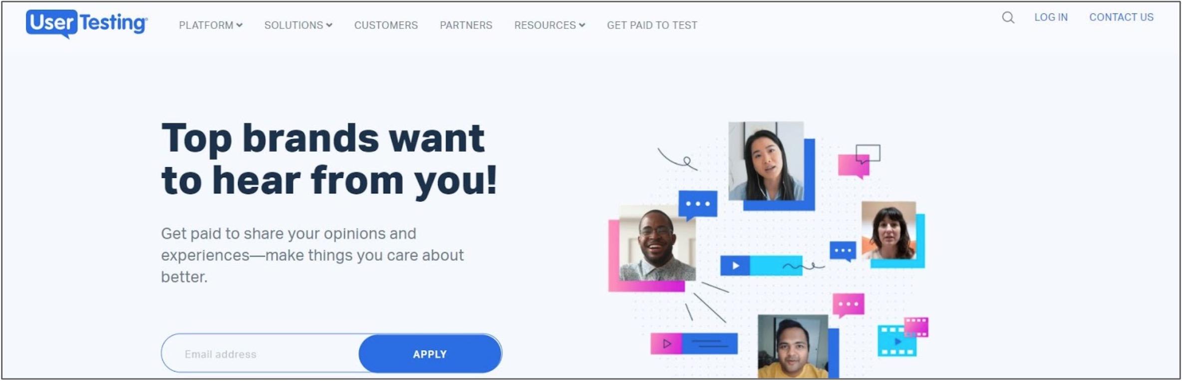 Screenshot of User Testing home page