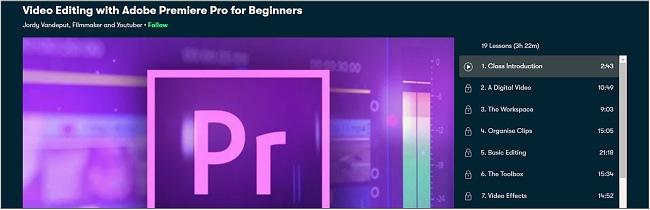 Screenshot of an Adobe Premiere Pro editing course on Skillshare