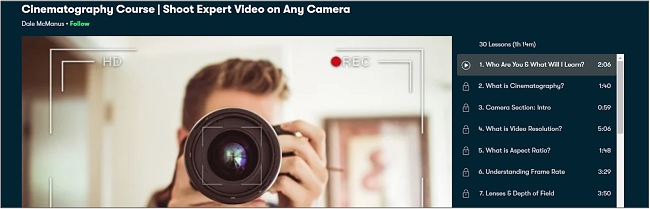 Screenshot of a videography course on Skillshare