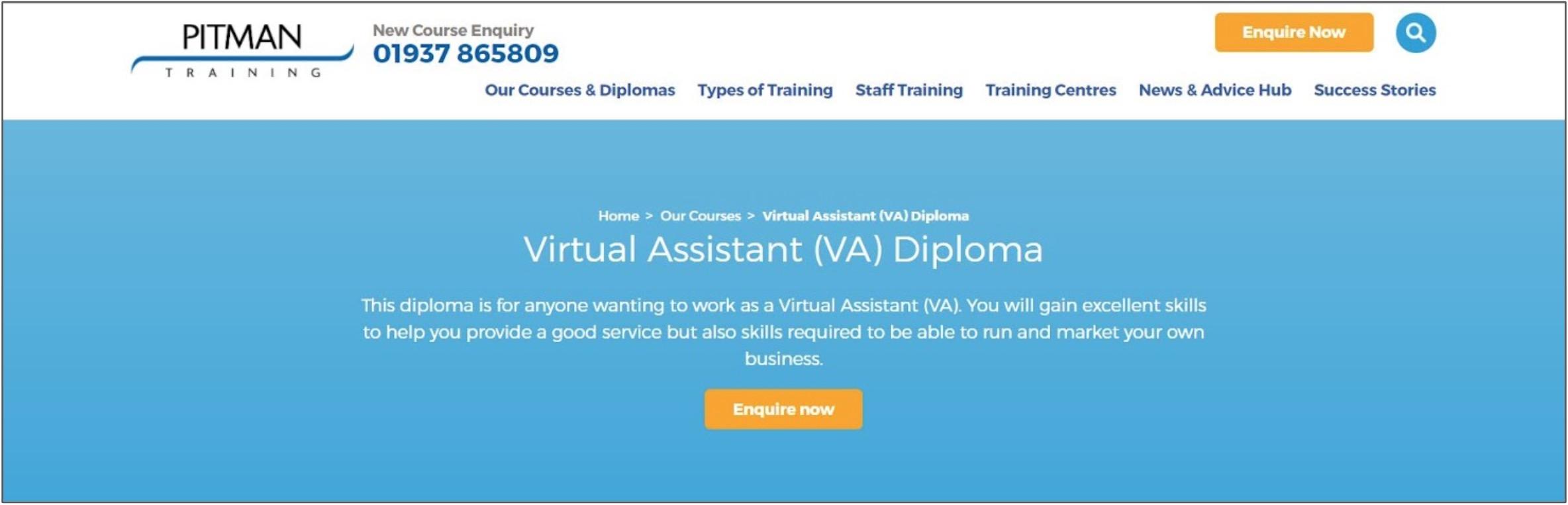 Screenshot of a Virtual Assistant Diploma on Pitman Training