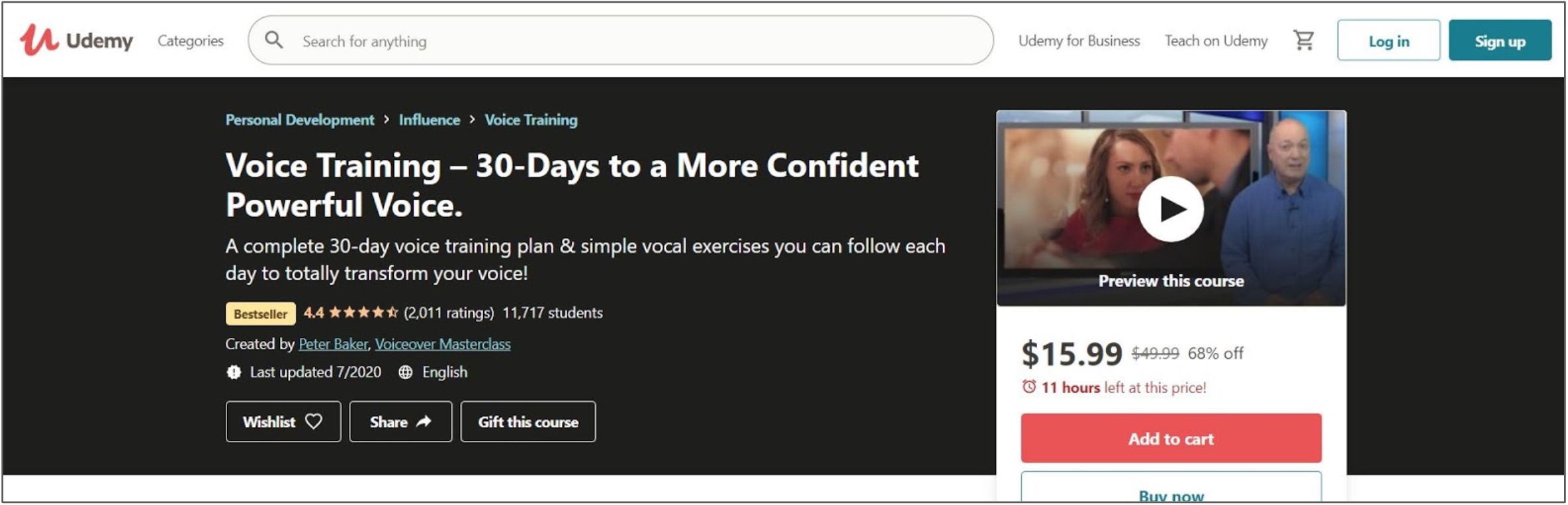 Screenshot of a Voice Training course on Udemy