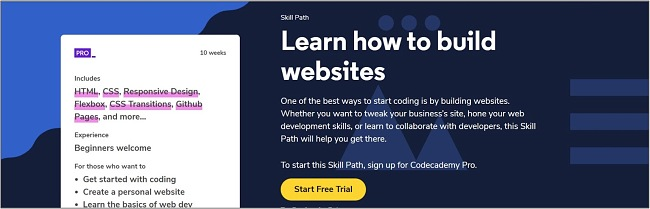 Screenshot of a Web Design course on Codecademy