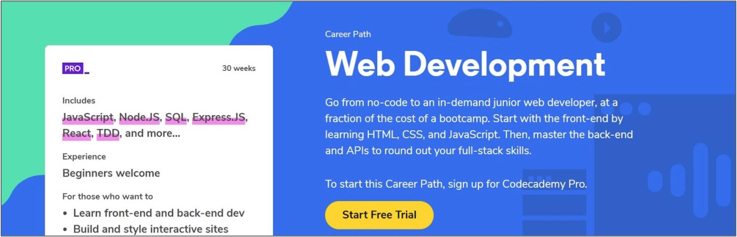 Screenshot of a Web Development course on Codecademy