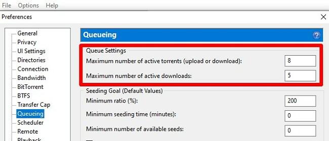 Change number of download BitTorrent