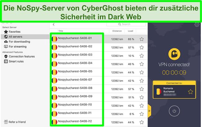 Screenshot der CyberGhost-VPN-Schnittstelle, die mit NoSpy-Servern in Rumänien verbunden ist