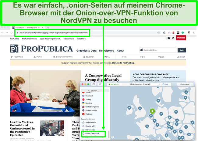Screenshot des Chrome-Browsers, der mit der Onion over VPN-Funktion von NordVPN auf die .onion-Site zugreift