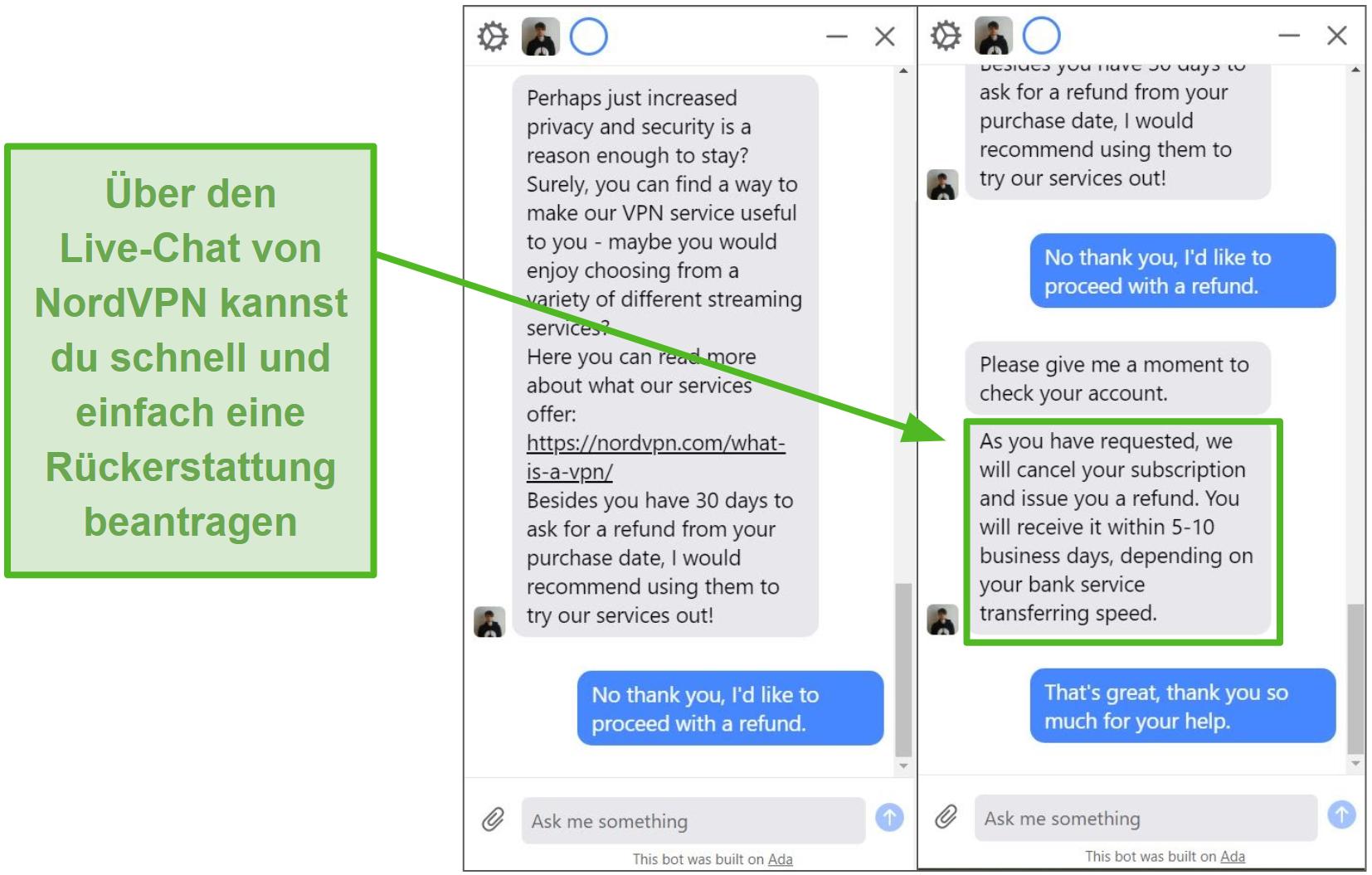 Screenshot einer Rückerstattung, die über den Live-Chat des NordVPN-Kundensupports initiiert und genehmigt wird