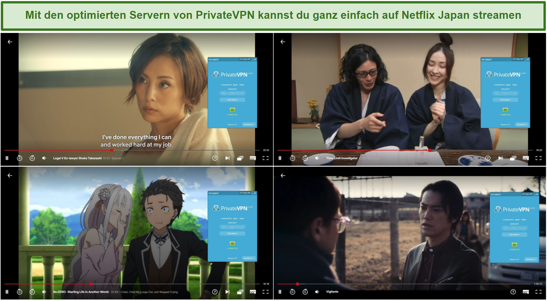 Screenshot von PrivateVPN, der den ehemaligen V-Anwalt Shoko Takanashi, den Ermittler für Zeitlimits, Re: ZERO - Das Leben in einer anderen Welt beginnen, und Vigilante auf Netflix Japan entsperrt