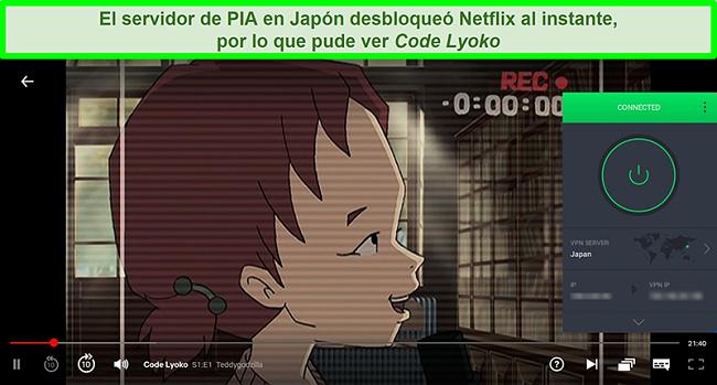 Captura de pantalla de Netflix Japón transmitiendo Code Lyoko mientras PIA está conectado a su servidor en Japón