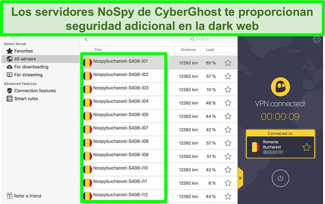 Captura de pantalla de la interfaz CyberGhost VPN conectada a los servidores NoSpy en Rumania