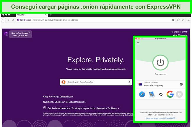 Captura de pantalla de ExpressVPN conectado mientras usa el navegador Tor