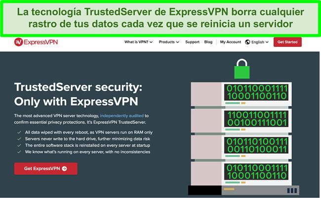 Captura de pantalla del sitio web de ExpressVPN que explica la tecnología TrustedServer