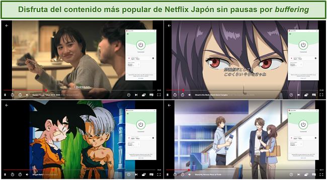 Captura de pantalla de la transmisión de ExpressVPN Terrace House: Tokio, Ghost in the Shell: Stand Alone Complex, Dragon Ball Z y Stand My Heroes: Piece of Truth de Netflix Japón