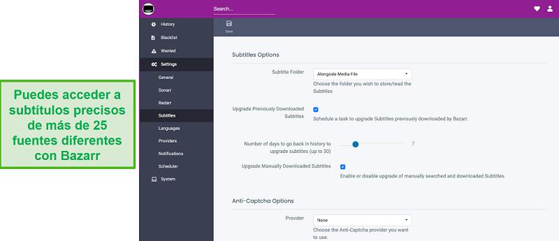 Captura de pantalla del complemento Bazarr para Plex.