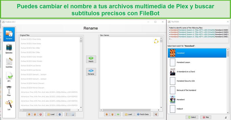 Captura de pantalla de la aplicación FileBot para Plex.