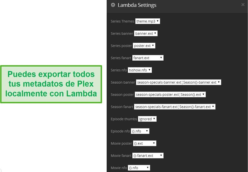Captura de pantalla del complemento Lambda para Plex.