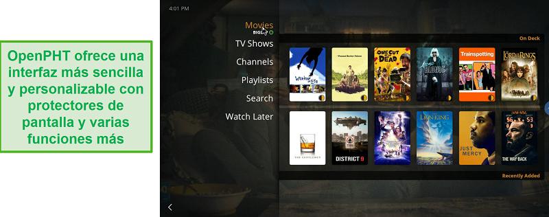 Captura de pantalla de la aplicación OpenPHT para Plex.