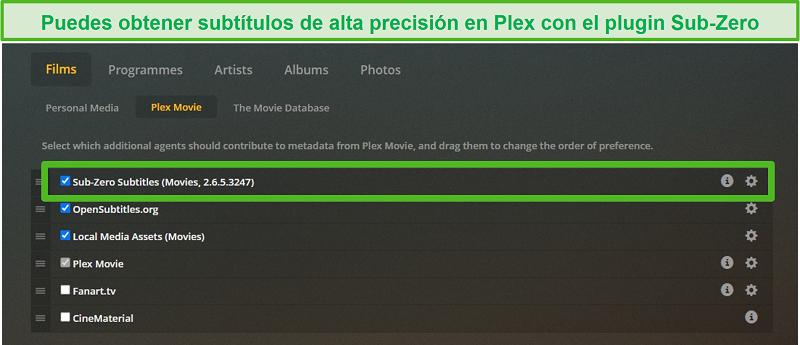 Captura de pantalla del complemento Sub-Zero para Plex.