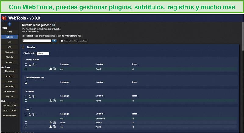 Captura de pantalla de la aplicación WebTools para Plex.