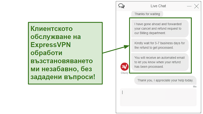 Screenshot of ExpressVPN customer support processing refund quickly BG
