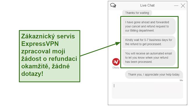Screenshot of ExpressVPN customer support processing refund quickly CS