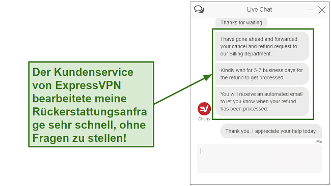 Screenshot of ExpressVPN customer support processing refund quickly DE