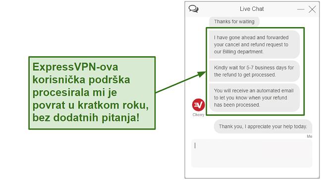 Screenshot of ExpressVPN customer support processing refund quickly HR