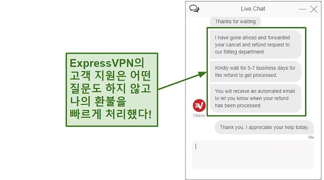 Screenshot of ExpressVPN customer support processing refund quickly KO