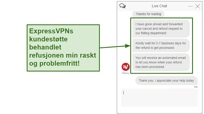 Screenshot of ExpressVPN customer support processing refund quickly NB