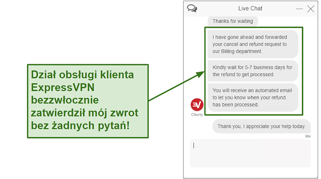 Screenshot of ExpressVPN customer support processing refund quickly PL