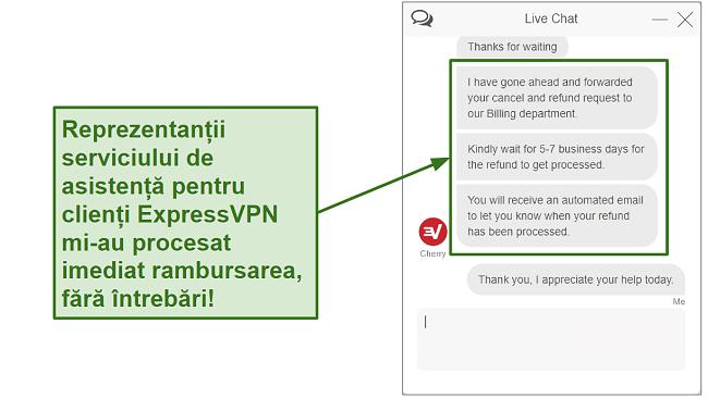 Screenshot of ExpressVPN customer support processing refund quickly RO