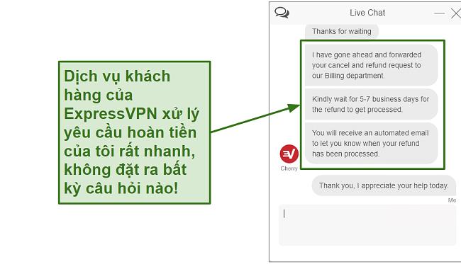 Screenshot of ExpressVPN customer support processing refund quickly VI