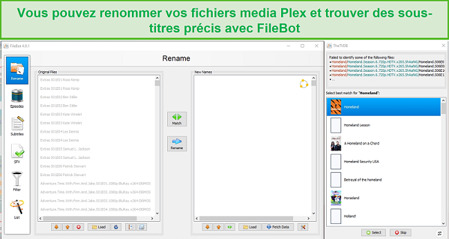 Capture d'écran de l'application FileBot pour Plex.