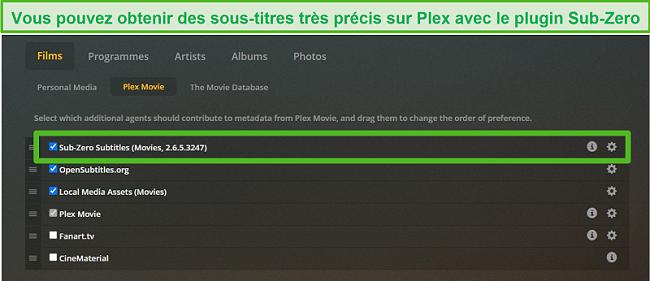 Capture d'écran du plugin Sub-Zero pour Plex.