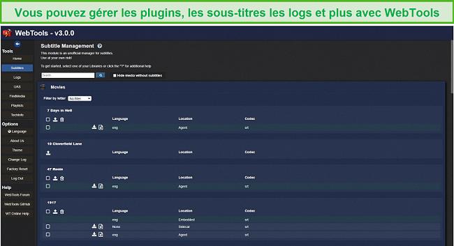 Capture d'écran de l'application WebTools pour Plex.