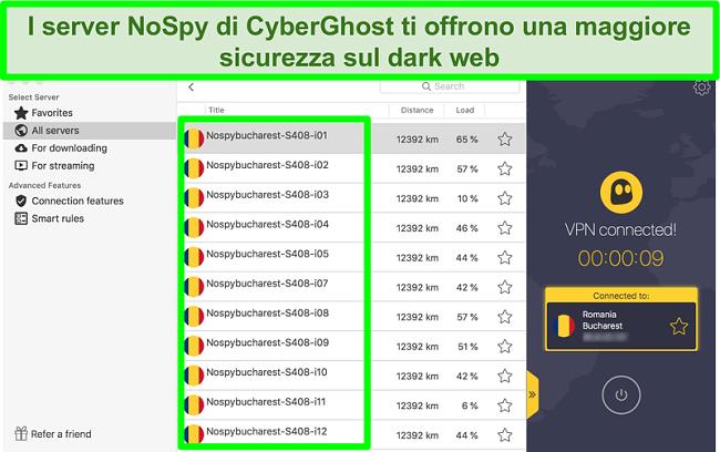 Screenshot dell'interfaccia CyberGhost VPN connessa ai server NoSpy in Romania