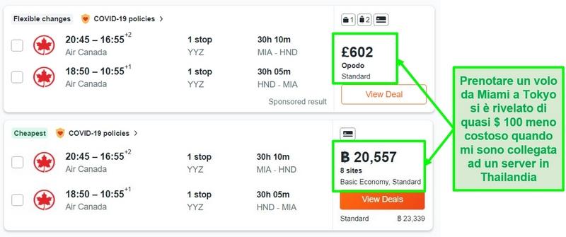 Confronto dei prezzi della rotta Miami-Tokyo utilizzando server nel Regno Unito e in Thailandia