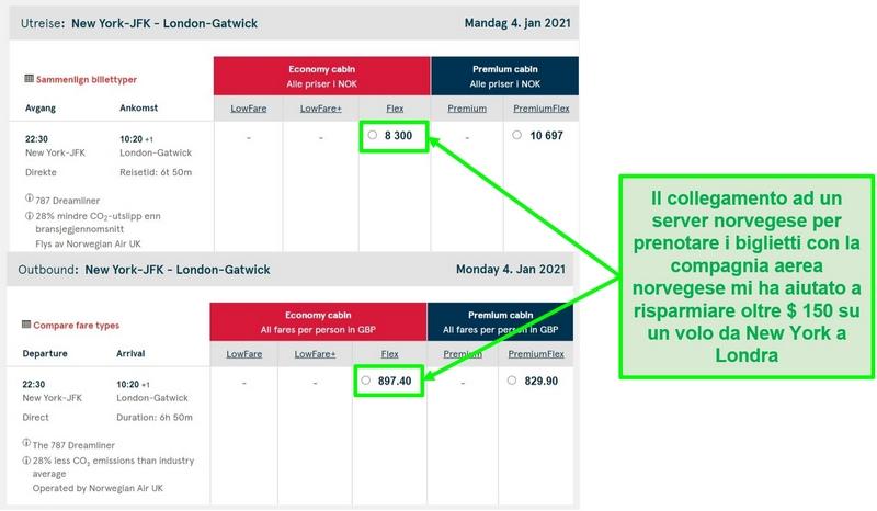 Confronto dei prezzi dei voli New York-Londra che mostrano differenze durante la connessione ai server in Norvegia e nel Regno Unito