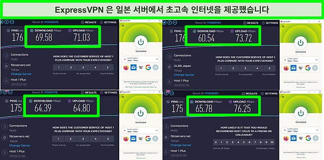 ExpressVPN이 일본 서버에 연결되어 있는 동안의 4가지 속도 테스트 스크린샷.