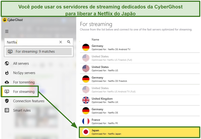 Captura de tela dos servidores de streaming dedicados da CyberGhost para Netflix Japan