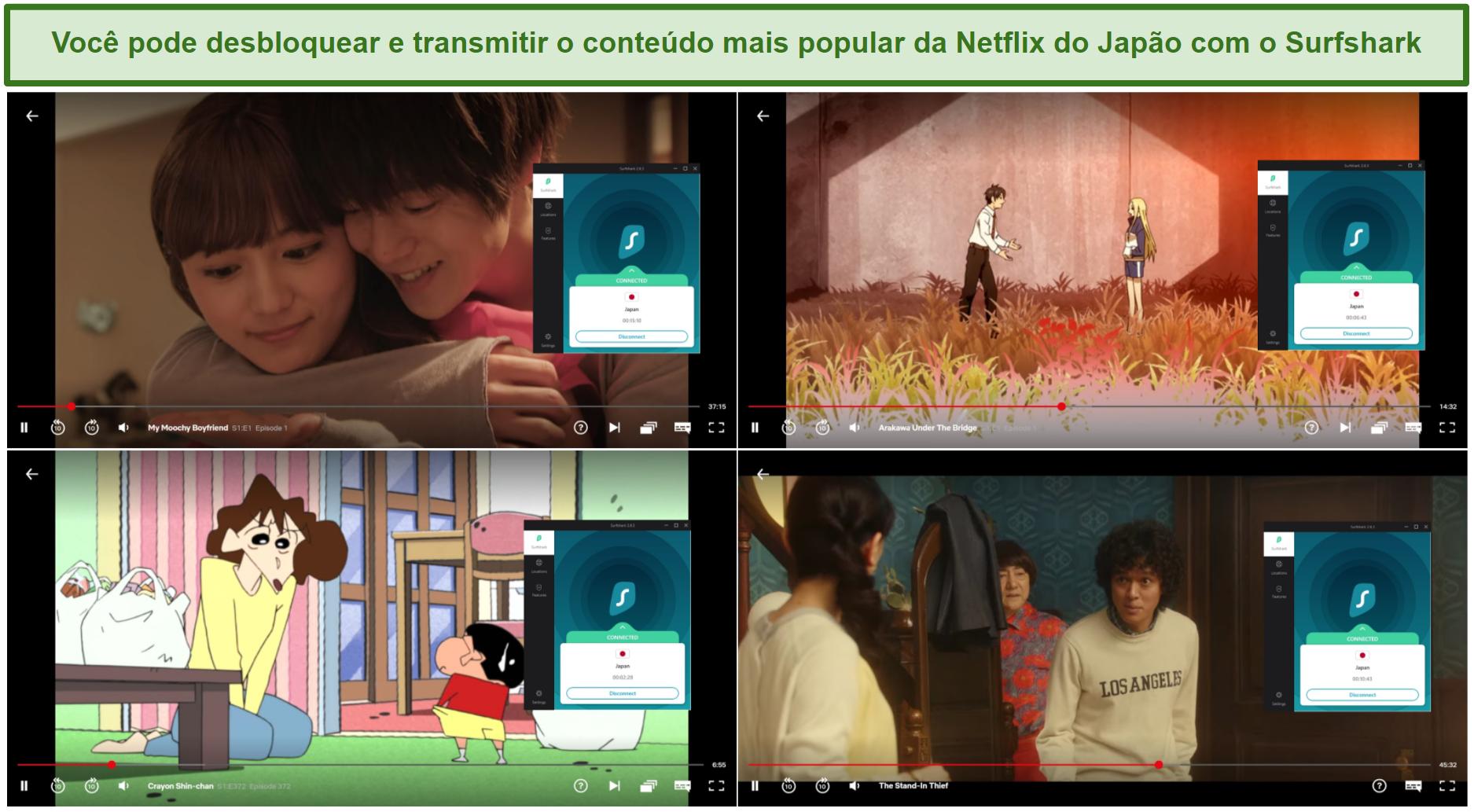 Captura de tela do Surfshark desbloqueando My Moochy Boyfriend, Arakawa Under The Bridge, Crayon Shin-chan e The Stand-in Thief no Netflix Japan