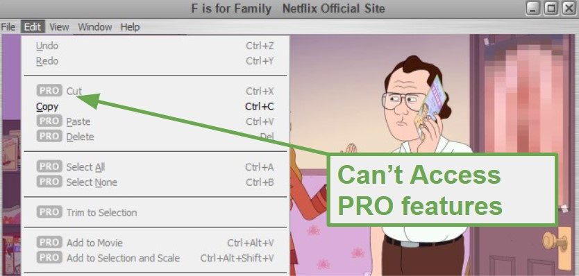 Pro Features don't work for QuickTime