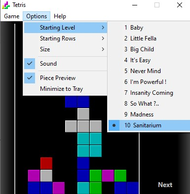 Tetris Starting levels.