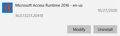 Uninstall Access Runtime