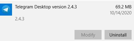Uninstall Telegram for Desktop